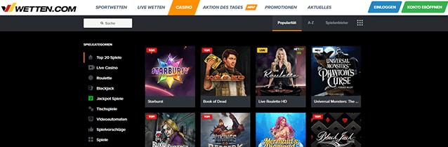 Wetten.com Casino Spiele Angebot