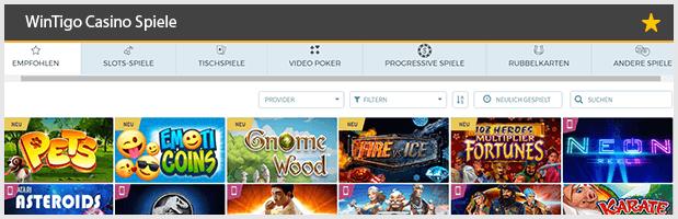 Wintingo Casino Spiele Angebot